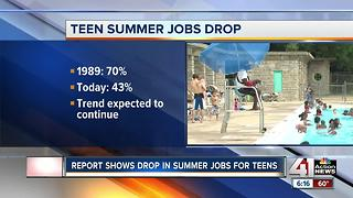 Report shows drop in summer jobs for teens - Video