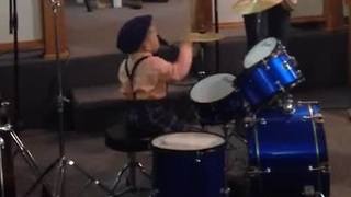 Two-year-old baby plays drums flawlessly