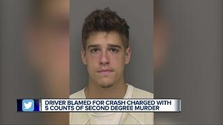 Driver blamed for crash charged with 5 counts of second degree murder