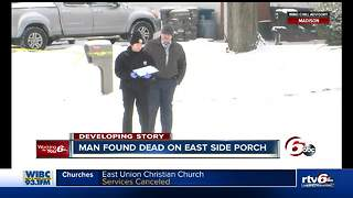 Stranger found dead on front porch of man's home - Video