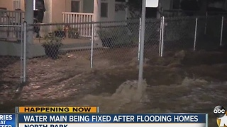 UPDATE: Water main break fixed after flooding homes - Video