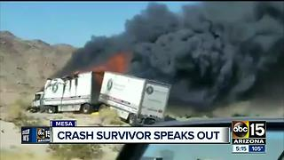 Crash survivor speaks out about semi-truck accident involving bus of cheerleaders