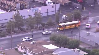 School bus at scene of a crash near Commerce, Carey - Video