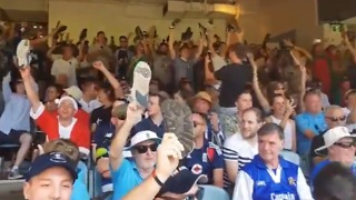 English Cricket Fans Wave Shoes in Defiance of Security During Test Match - Video