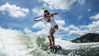 Forget wimbledon! Try wakeboarding tennis - Video