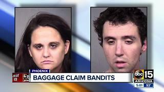 Couple accused of stealing $20K worth of luggage from airport - Video