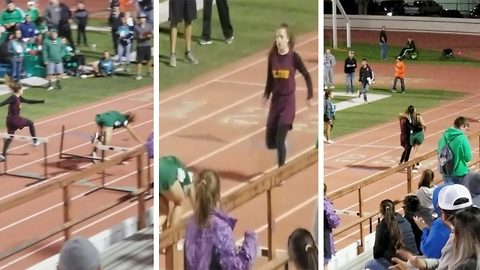 Girl Helps Friend Cross The Finish Line After Falling At The Last Hurdle