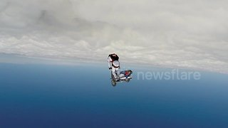 Austrian stunt rider jumps over the clouds on his Vespa!
