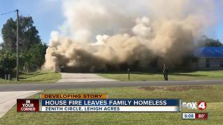 Family displaced by Lehigh Acres house fire Monday