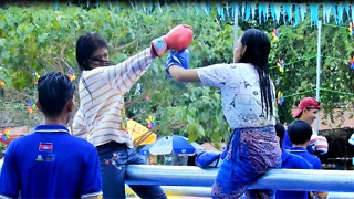 Girl Funny Boxing Fail Into Water At Temple Area In Cambodia - Video