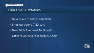 PD: 16-year-old boy in critical condition after being shot near 67th Avenue and McDowell Road