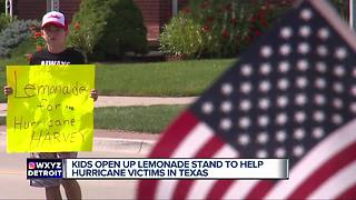 Kids open up lemonade stand to help hurricane victims in Texas - Video