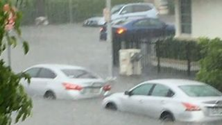 Cars 'Float' Along Flooded South Beach Streets in Miami