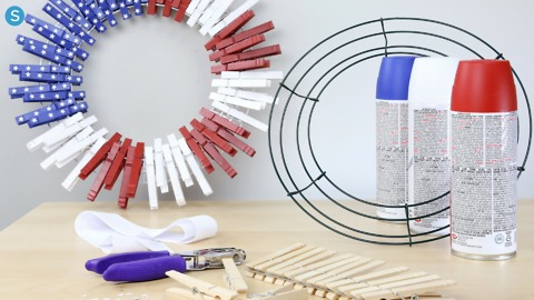 How to make a patriotic clothespin flag wreath