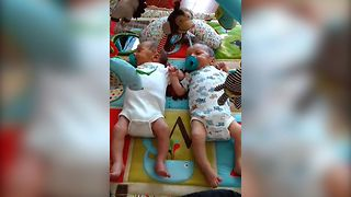 Twin Babies Share Hiccups - Video