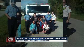 Community gives back to family after thieves steal presents - Video