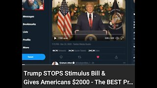 Trump Shutdown That Stimulus Bill & Gives Americans $2,000 #VishusTv 📺