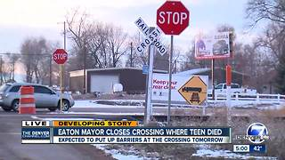 Eaton Mayor closes crossing where teen died - Video