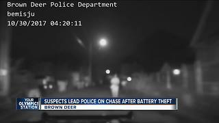 Suspects lead Brown Deer police on high-speed chase after stealing car batteries - Video