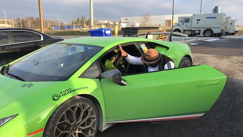 Philanthropist interrupts media interview for 8-year-old Lamborghini fan