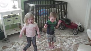 Two Toddlers Have A Baby Powder Party - Video