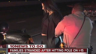 Drunk driver hits pole, causes flat tires for many - Video