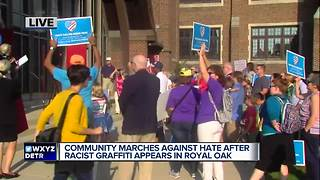 Royal Oak residents rally against bigotry after racist graffiti found - Video