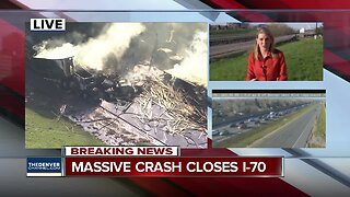 At least 1 dead, 10 injured following fiery crash involving 12 cars, 3 semis on I-70