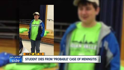 High school student in Tuscarawas County dies from probable case of bacterial meningitis