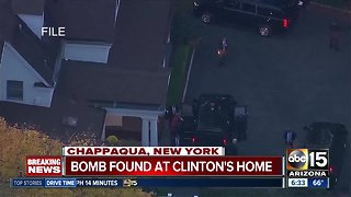 An explosive device was found near the New York home of Bill and Hillary Clinton