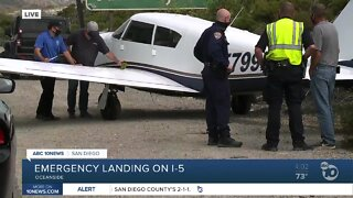 Emergency landing on I-5