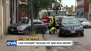 Cleveland law student tackles suspected hit-and-run driver - Video
