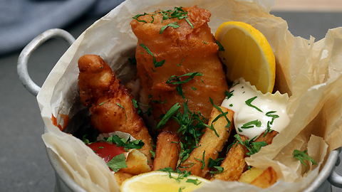 Tasty alligator meat presented fish n' chips style