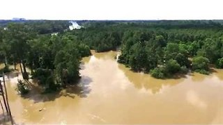 Drone footage Shows Spring Creek Flood Damages North of Houston - Video