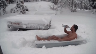 Norwegian Celebrates First Snow by Drinking Vodka in His Underwear - Video