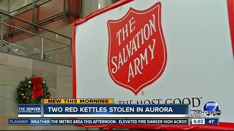 Thieves nab two Salvation Army red kettles in Aurora