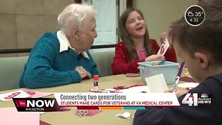 Students and seniors make Valentines for vets - Video
