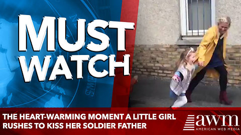 The heart-warming moment a little girl rushes to kiss her soldier father