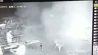 Out-of-control car drifts into customers eating outside restaurant - Video
