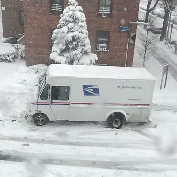 USPS Truck Struggles in New York Snow