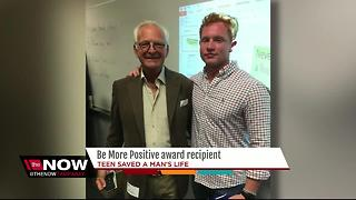 Young hero is this year's Be More Positive award recipient after saving 71-year-old from pond - Video
