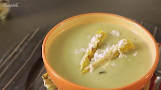 Cream of Poblano Chili with Roasted Elote, Mayonnaise and Grated Cheese