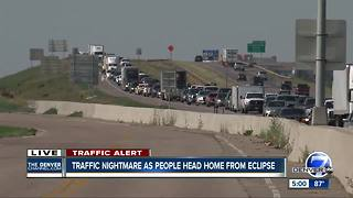 Traffic nightmare as people head home from eclipse - Video