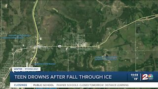 Teen drowns after fall through ice