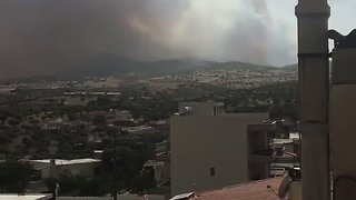 Smoke Billows From Wildfire Over Kineta, Greece - Video