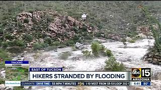 Effort underway to rescue hikers trapped by flash flood at Tanque Verde Falls near Tucson - Video