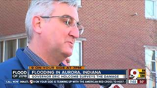 Indiana governor surveys flood damage