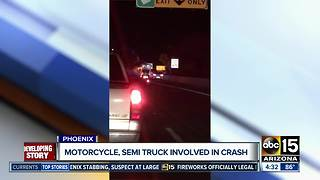 Fiery crash involving semi, motorcycle shut down I-10 in Phoenix - Video