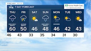 Thursday morning rainy with lows in the 40s