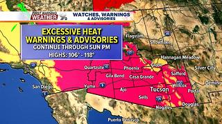 Excessive Heat Warnings continue this weekend, chance for thunderstorms into next week - Video